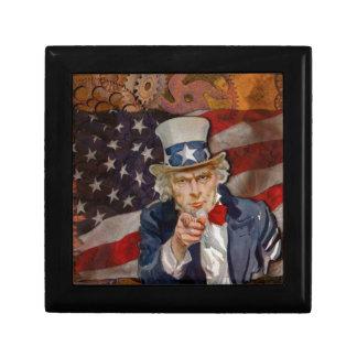 Steampunk Sam Patriotic US Flag Design Small Square Gift Box