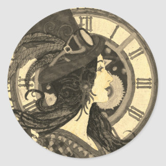 Steampunk Sepia Sticker Woman with Clock