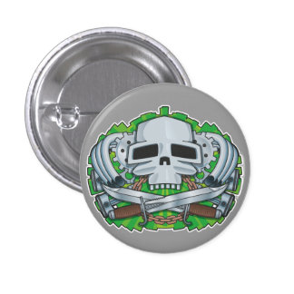 Steampunk Skull Crest Pinback Button