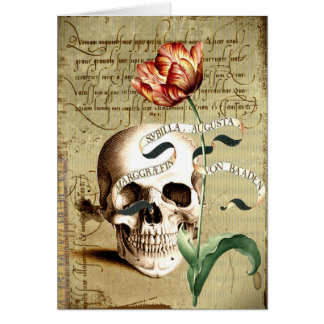 Steampunk Skull Floral Halloween Greeting Card
