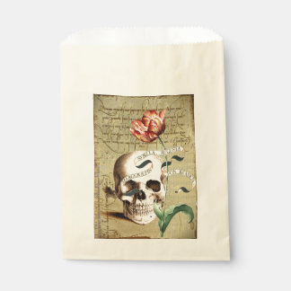 Steampunk Skull Floral Writing Halloween Favor Bag