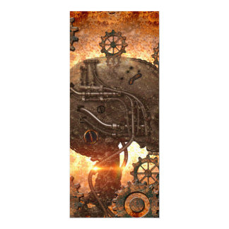 Steampunk Skull with gears made of rusty metal 10 Cm X 24 Cm Invitation Card
