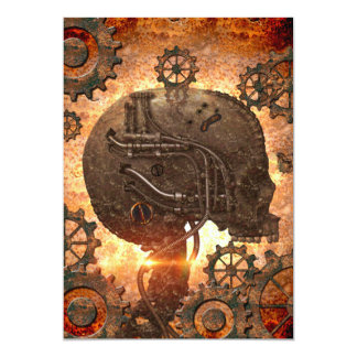 Steampunk Skull with gears made of rusty metal 13 Cm X 18 Cm Invitation Card