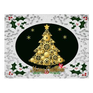steampunk snowflake postcard