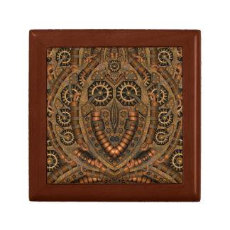 Steampunk Square Tile Gift Box, Golden Oak Small Square Gift Box