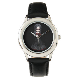 Steampunk style girl wearing black dress with red wristwatches
