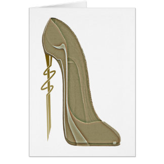 Steampunk Style Stiletto Shoe Art Greeting Card
