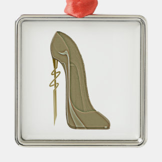 Steampunk Style Stiletto Shoe Art Silver-Colored Square Decoration