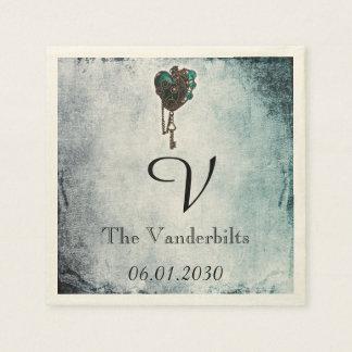 Steampunk Teal Heart Monogram Wedding Napkin Disposable Napkin