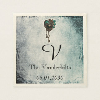 Steampunk Teal Heart Monogram Wedding Napkin Disposable Serviettes