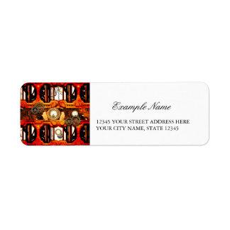 Steampunk , technical design with clocks, return address label