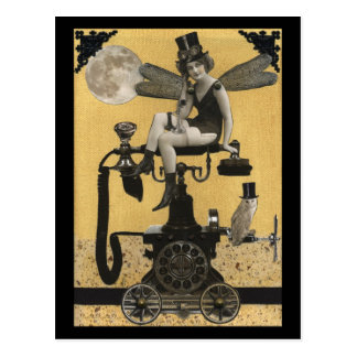 Steampunk Telephone Fairy Postcard