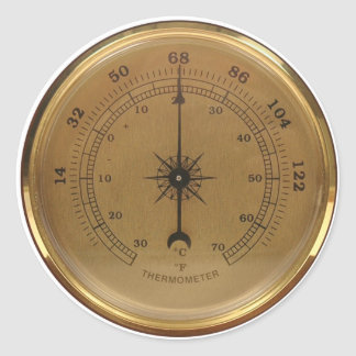 Steampunk Thermometer Round Sticker