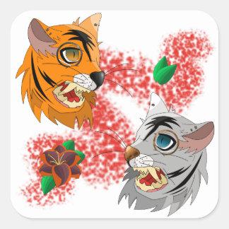 Steampunk Tigers Square Sticker