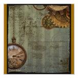 Steampunk Time Machine Custom Invitations