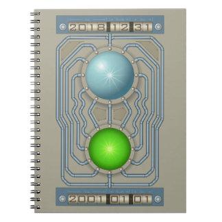 Steampunk time machine spiral notebook