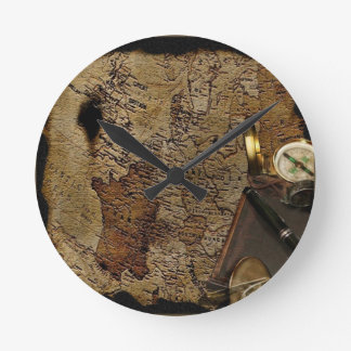 Steampunk time travel accessories, map,compass wall clocks