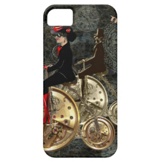 Steampunk time travel, clockwork penny farthing barely there iPhone 5 case