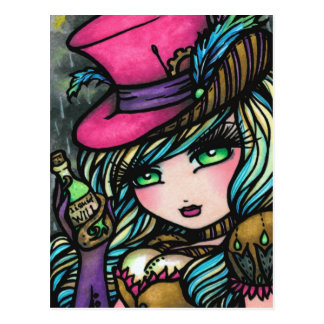 Steampunk Top Hat Potion Fairy Fantasy Art Girl Postcard