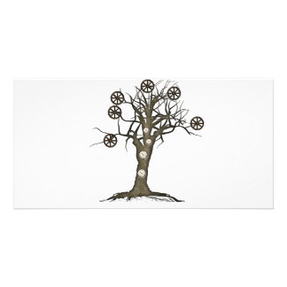 steampunk tree personalised photo card