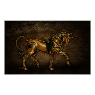 Steampunk Unicorn Damask Poster