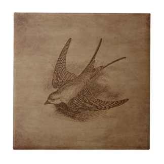 Steampunk Vintage Bird Small Square Tile