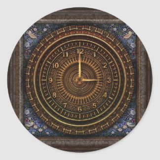 Steampunk Vintage Clock Sticker with Sun and Moons