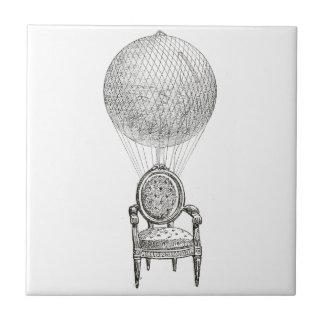 Steampunk vintage collage chair & hot-air balloon ceramic tile