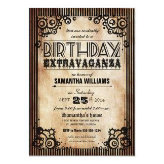 Steampunk Vintage Look Birthday Extravaganza 13 Cm X 18 Cm Invitation Card
