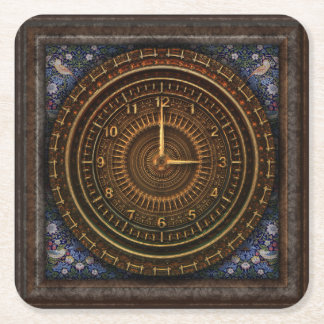 Steampunk Vintage Old-Fashioned Copper Clockwork Square Paper Coaster