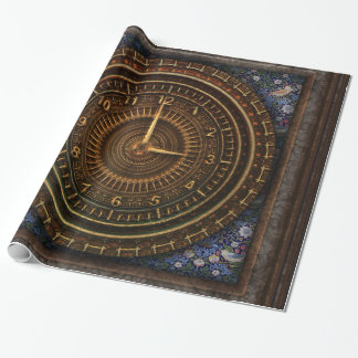 Steampunk Vintage Old-Fashioned Copper Clockwork Wrapping Paper
