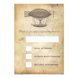 Steampunk Wedding RSVP Victorian Airship Card