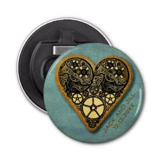 Steampunk Wedding Vintage Gold Heart Monogram Bottle Opener