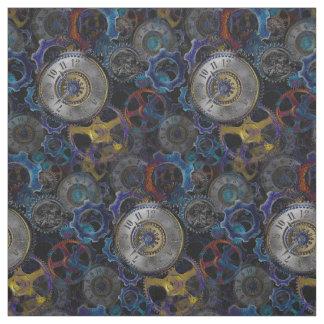 Steampunk wheels gears cogs watch face pattern fabric