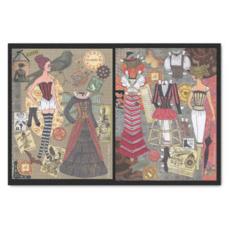 Steampunk Whimsy Paper Doll Art Tissue Paper