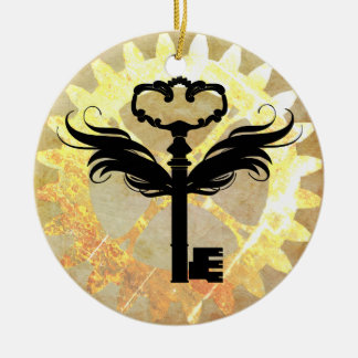 Steampunk Winged Key and Cog Wheel Ceramic Ornament