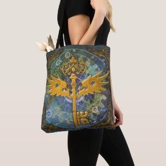 Steampunk Winged Key Tote Bag
