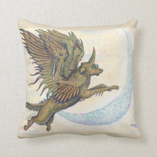 Steampunk Winged Wolf Pillow