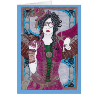 Steampunk Woman in Purple Dress Card