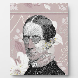 Steampunk Woman Wearing Glasses Pink Flowers Plaques