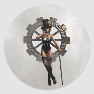 STEAMPUNK WOMAN WITH GEAR AND STEAM CLASSIC ROUND STICKER