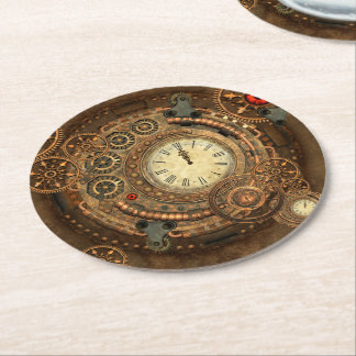 Steampunk, wonderful clockwork round paper coaster