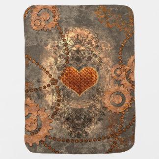 Steampunk, wonderful heart made of rusty metal baby blanket