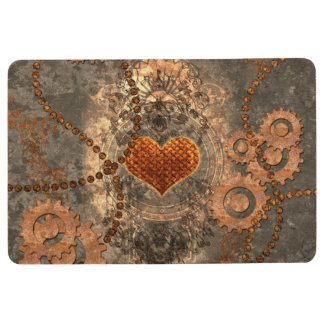 Steampunk, wonderful heart made of rusty metal floor mat