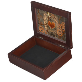Steampunk, wonderful heart made of rusty metal keepsake box