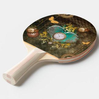 Steampunk, wonderful heart ping pong paddle