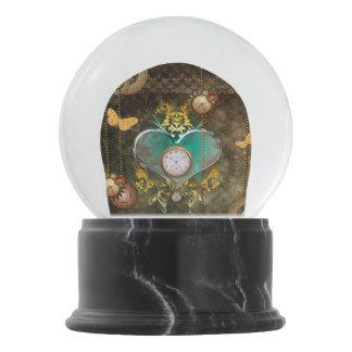 Steampunk, wonderful heart snow globe