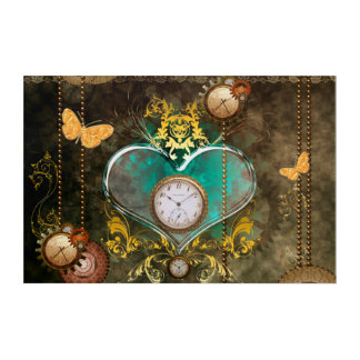 Steampunk, wonderful heart with clocks acrylic wall art