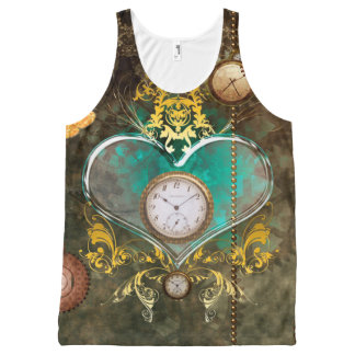 Steampunk, wonderful heart with clocks All-Over print singlet