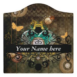 Steampunk, wonderful heart with clocks door sign